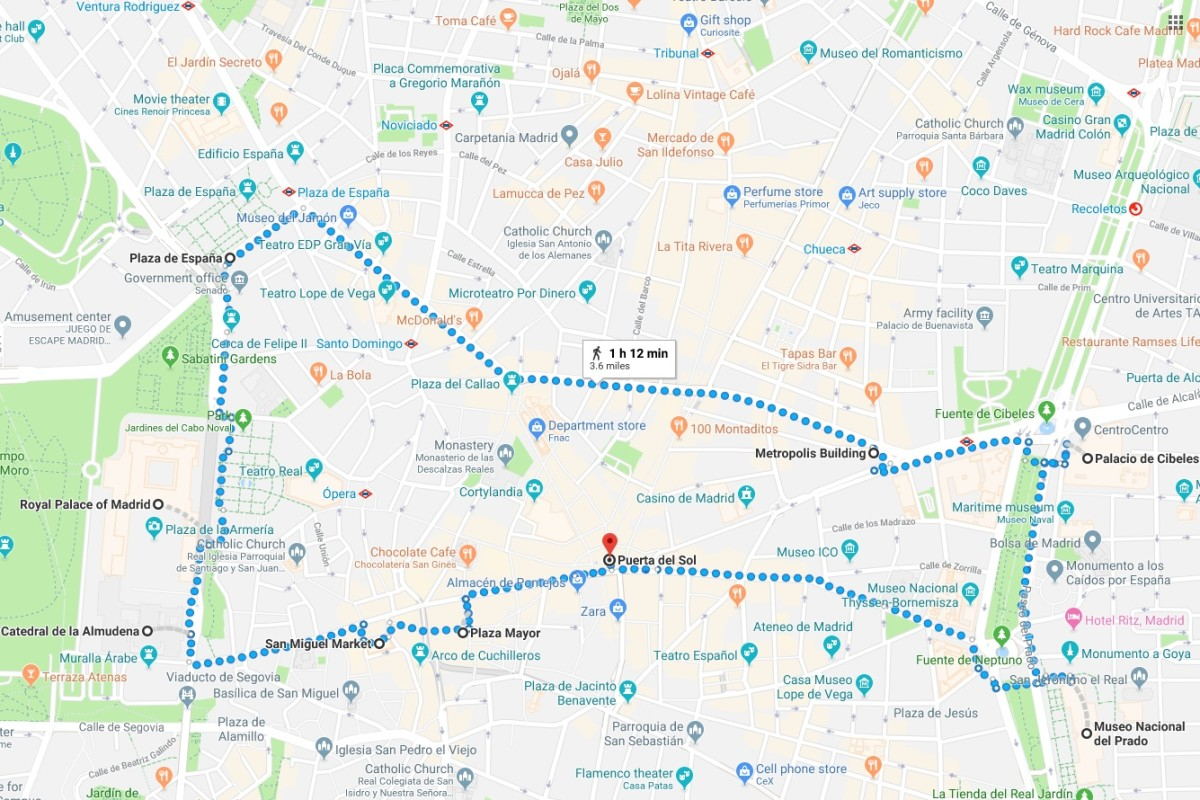 3.6 mile walking route around historic Madrid