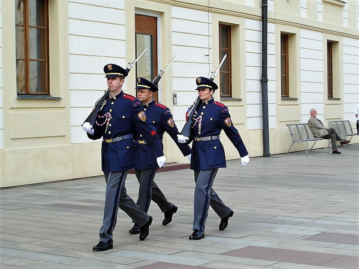 Changing of the guard at Prague Castle.