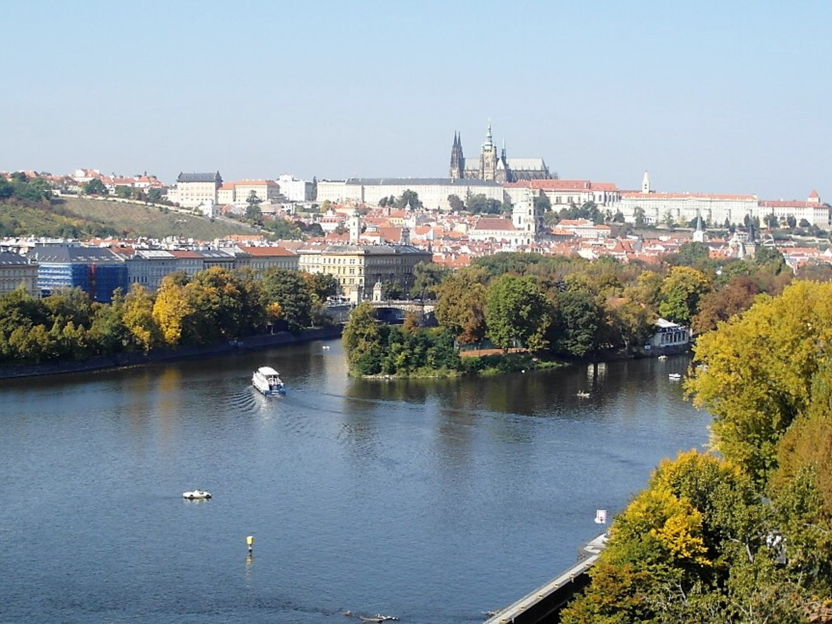 Prague Castle and Hradcany overlooking Mala Strana and the River Vltava.