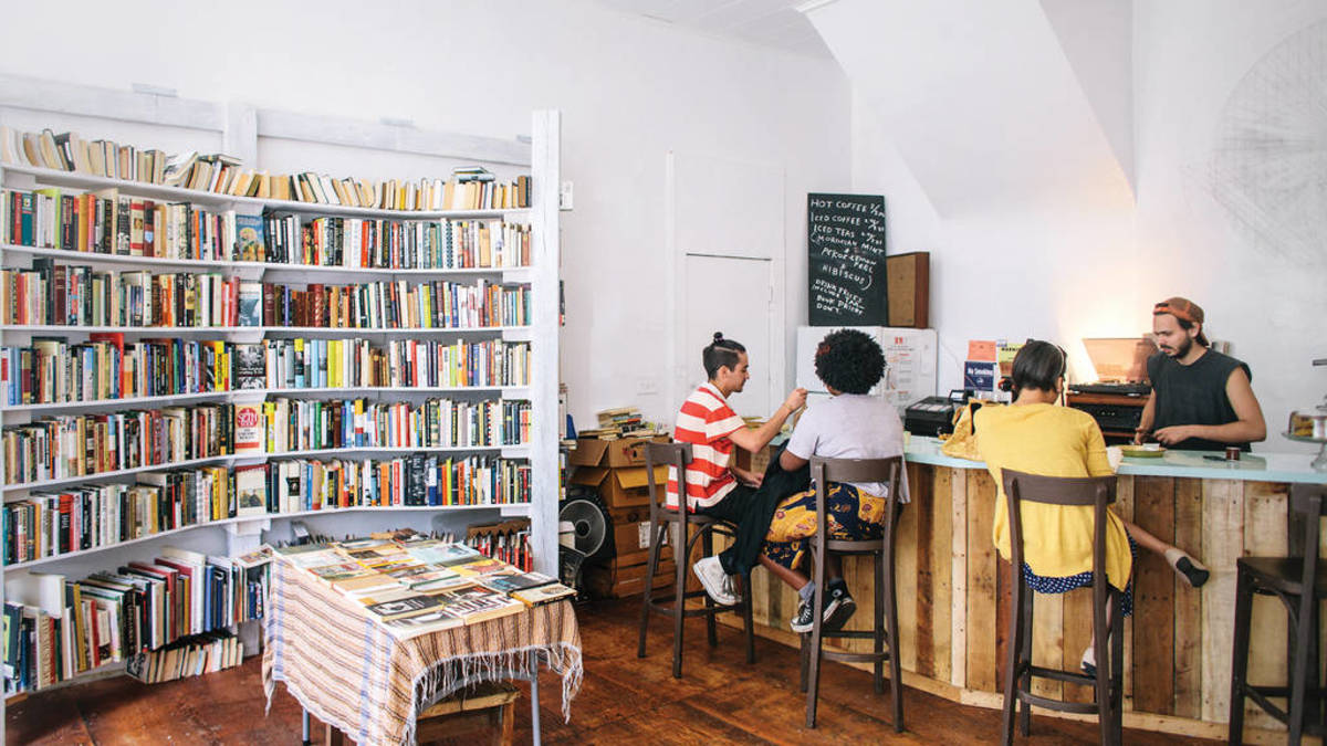 Located in Central Brooklyn, you can stop into Molasses Books to browse for a good read and sip your drink of choice