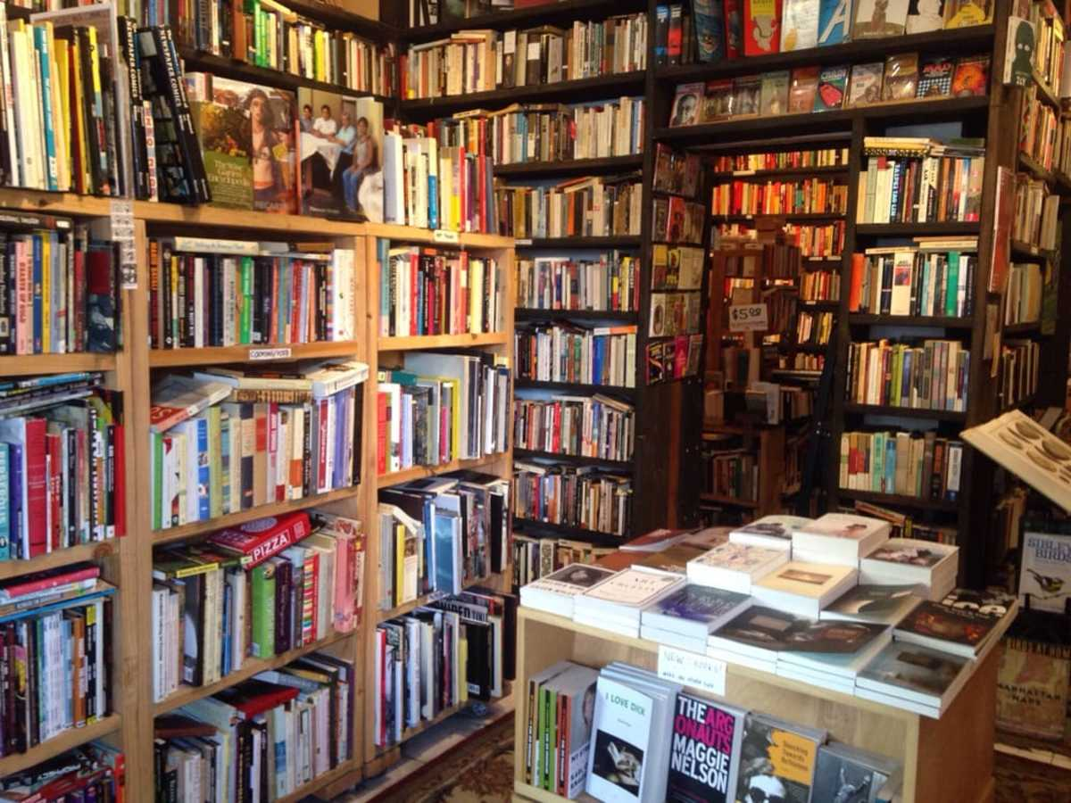 In movies, the back rooms of bookstores are always mystic. The back room at Human Relations certainly fits the bill!