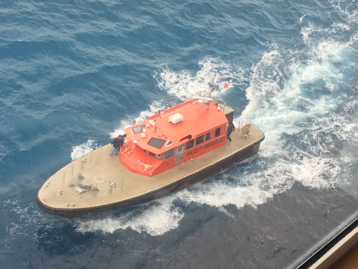 During one of our sea days, the ship made an emergency stop near Bermuda for a medical evacuation for a gentleman who had suffered a heart attack. A medical transport boat met our ship offshore and took him to the hospital.