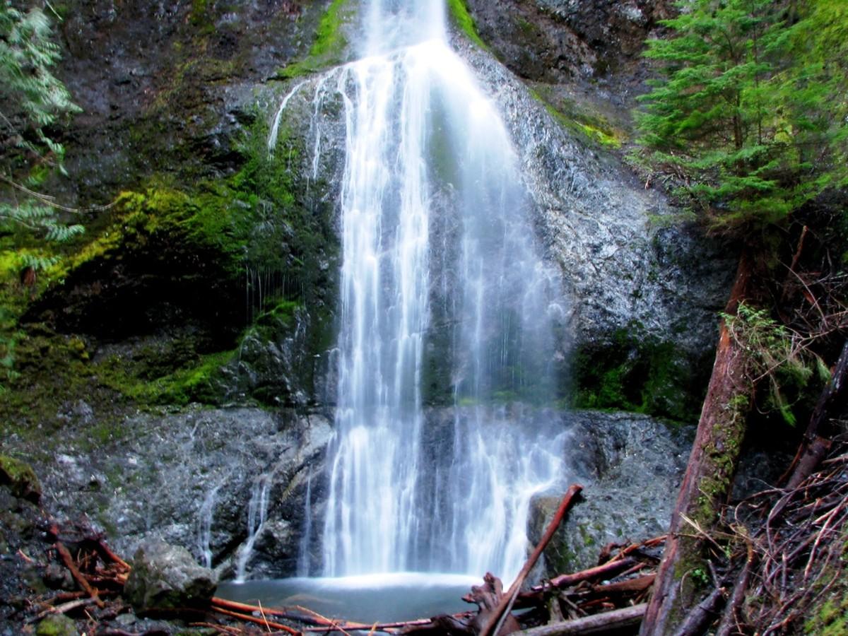 Marymere Falls at Olympic National Park near Seattle, Washington