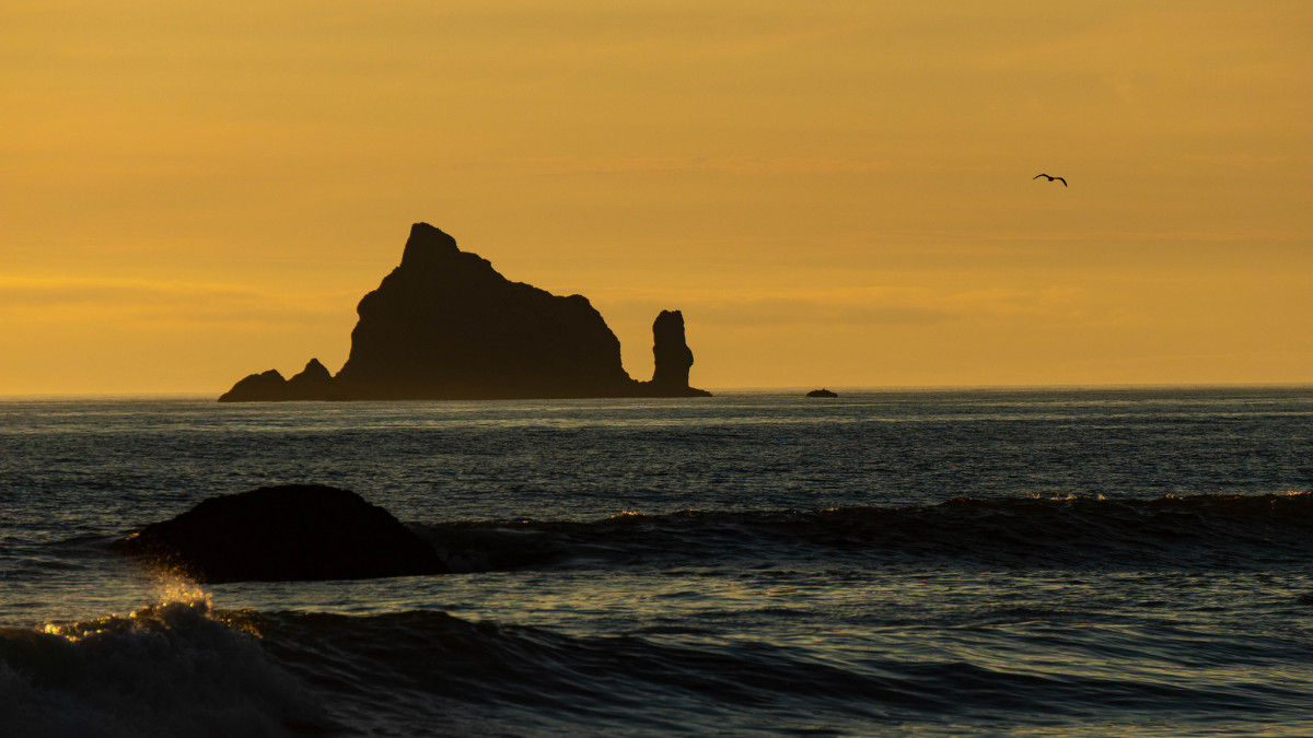 Rialto Beach at sunset at Olympic National Park near Seattle, Washington