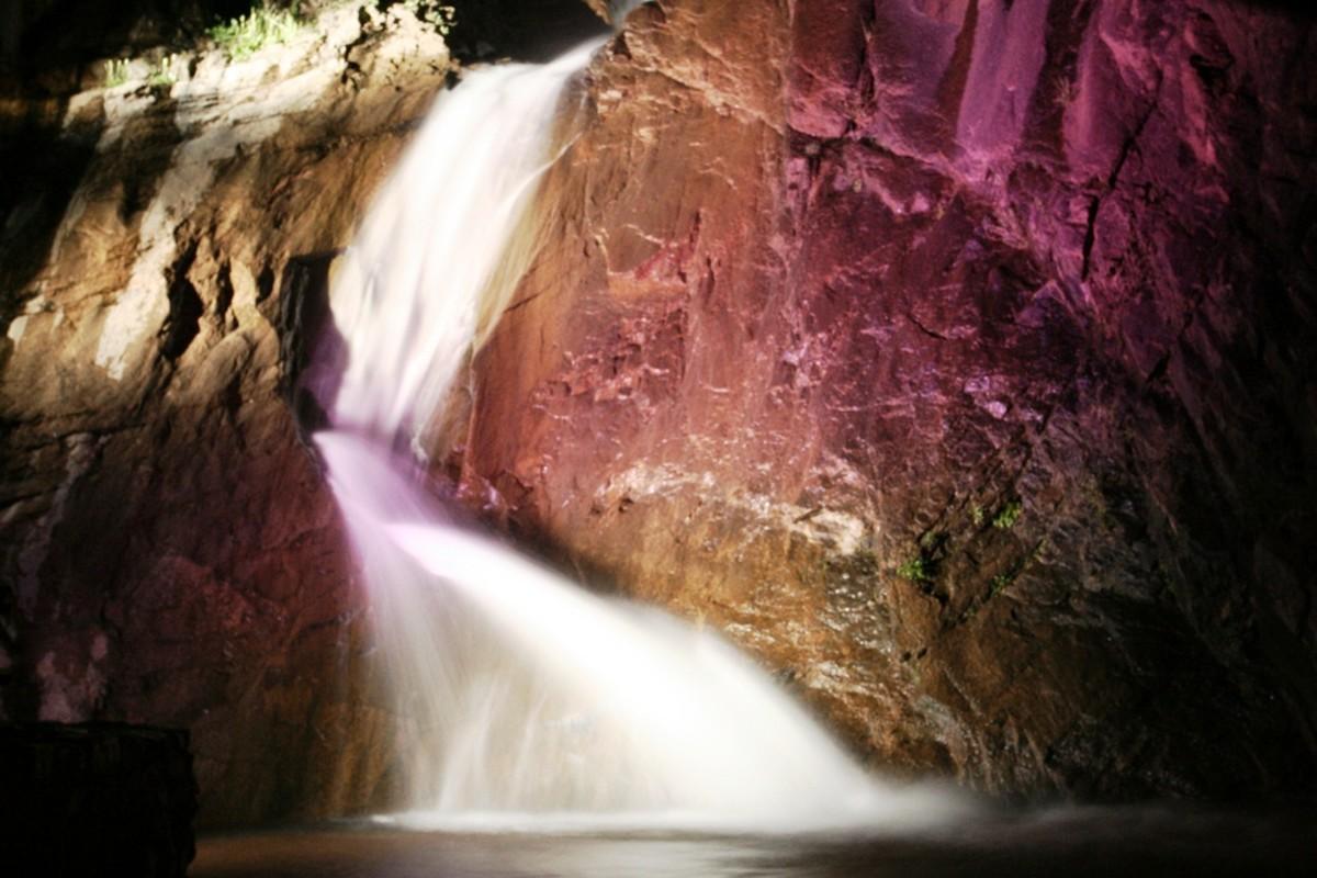 Seven Falls in Color in Colorado Springs, Colorado