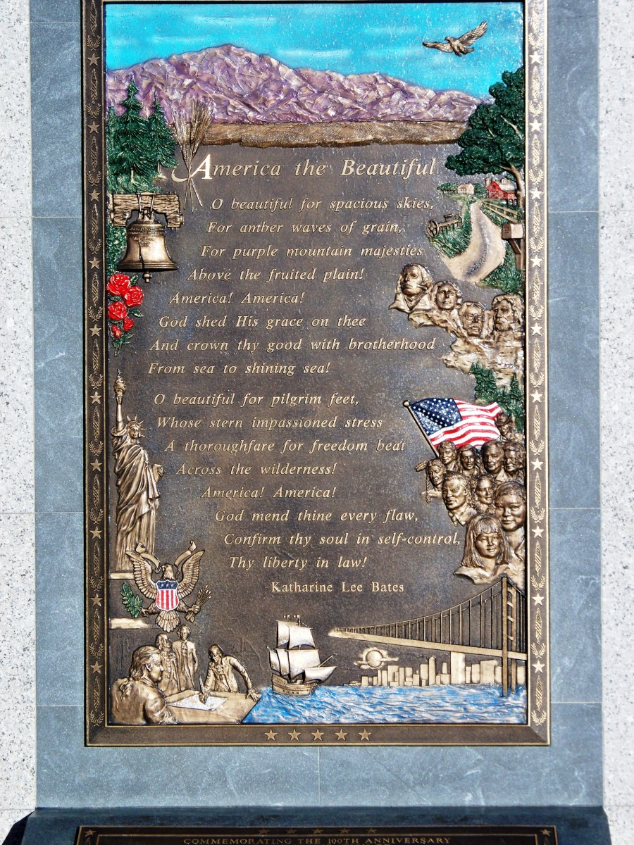 America the Beautiful plaque on top of Pikes Peak in Colorado Springs, CO