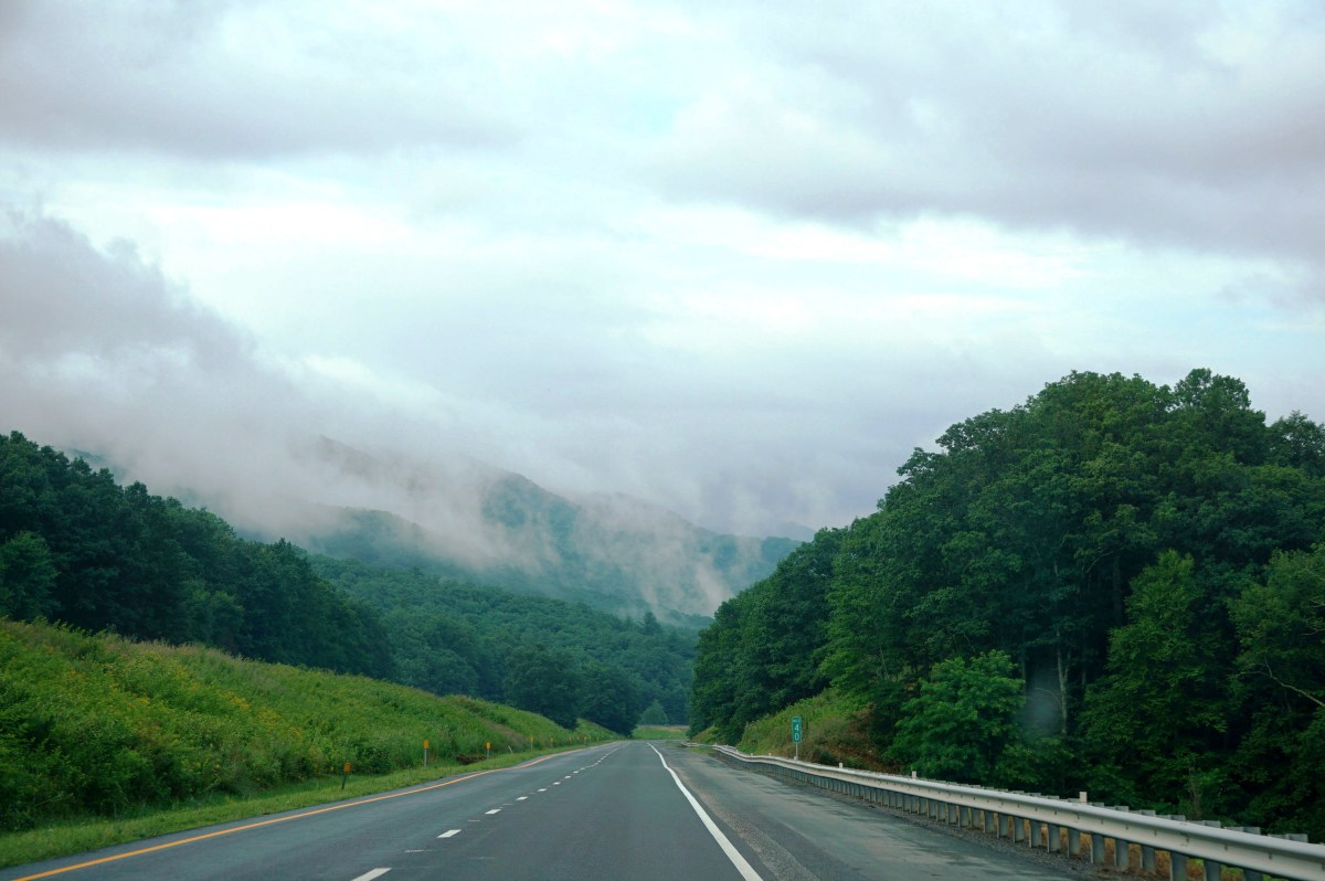 Fog off the mountains near Skyline Drive in Shenandoah National Park