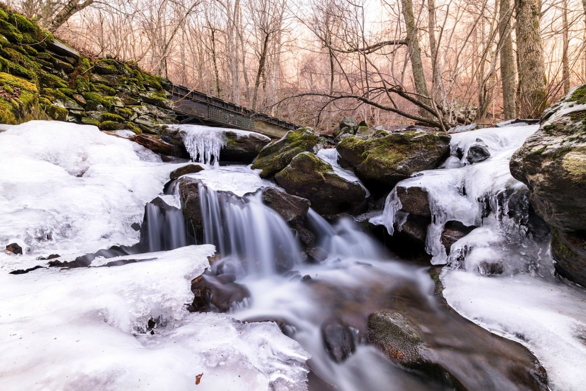 Icy Rose River Falls in Shenandoah National Park
