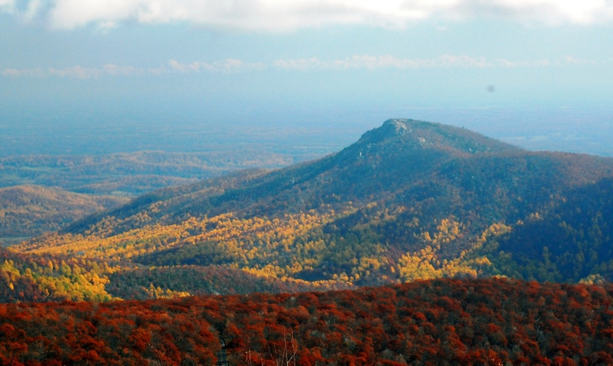 View of Old Rag Mountain from Hawksbill Mountain in Shenandoah National Park