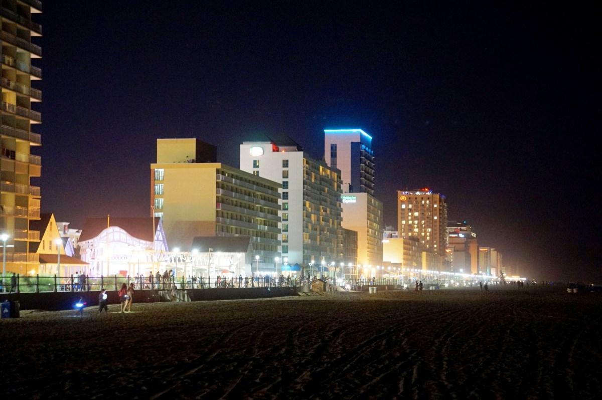 Virginia Beach Boardwalk and Beachfront at night