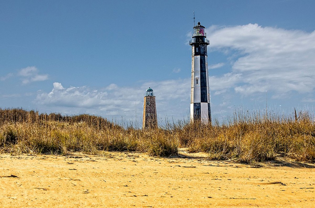 The Cape Henry Lighthouse along with the Old Cape Henry Lighthouse in Virginia Beach, Virginia