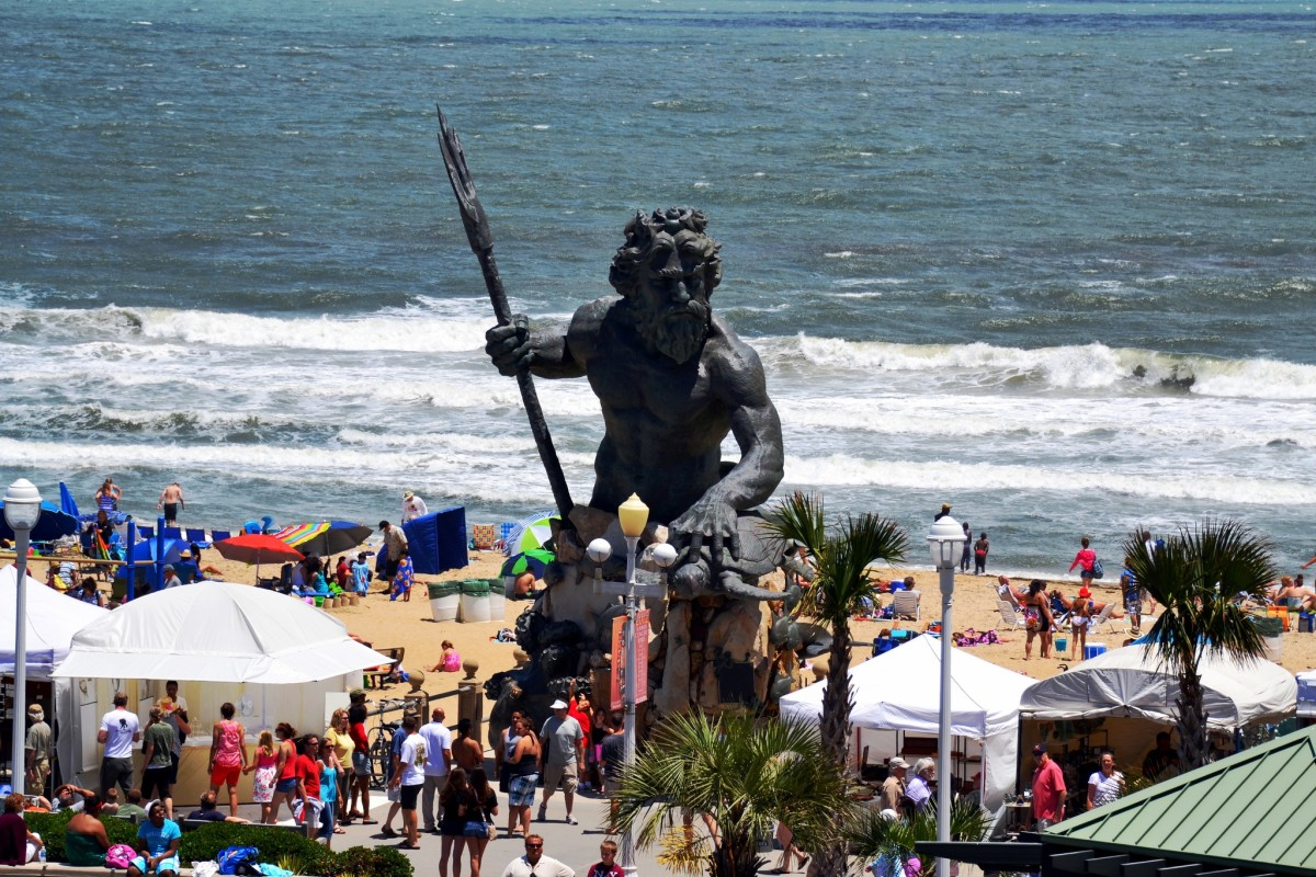 Virginia Beach Boardwalk Art Show in font of King Neptune in Virginia Beach, Virginia.