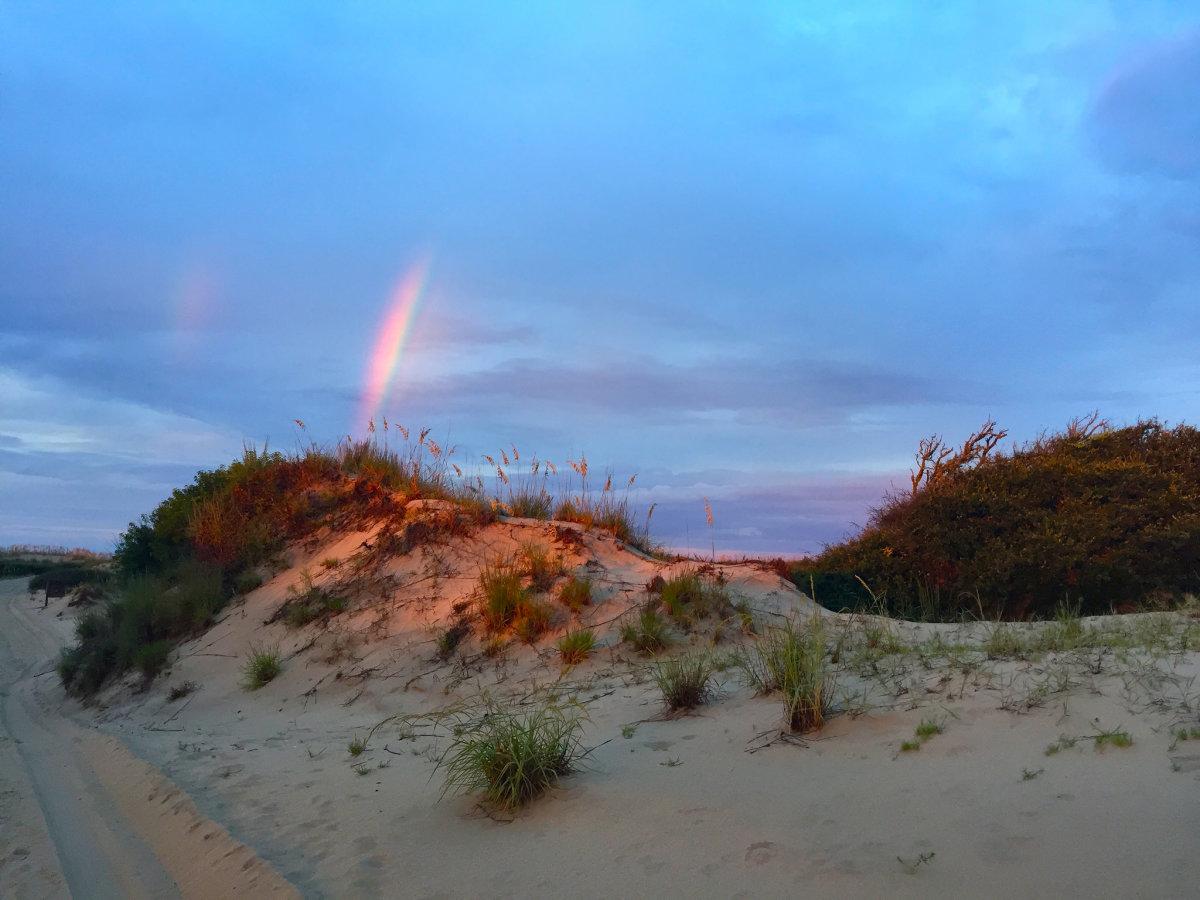 Rainbow and Dunes at False Cape State Park in Virginia Beach, Virginia