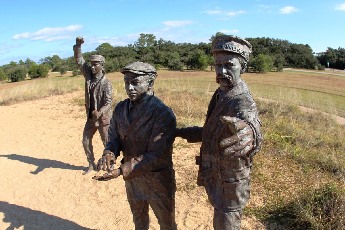 The supporters cheering at the Wright Brothers National Memorial in Kitty Hawk, NC - Outer Banks North Carolina