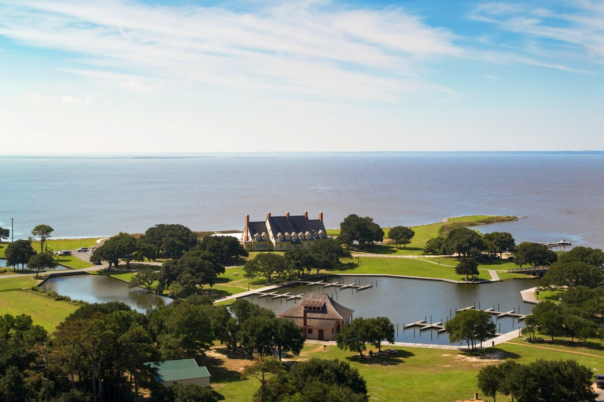 View from the Currituck Lighthouse in Corolla, NC on the Outer Banks of North Carolina