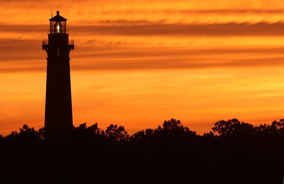Currituck Lighthouse at sunset in Corolla, NC on the Outer Banks of North Carolina