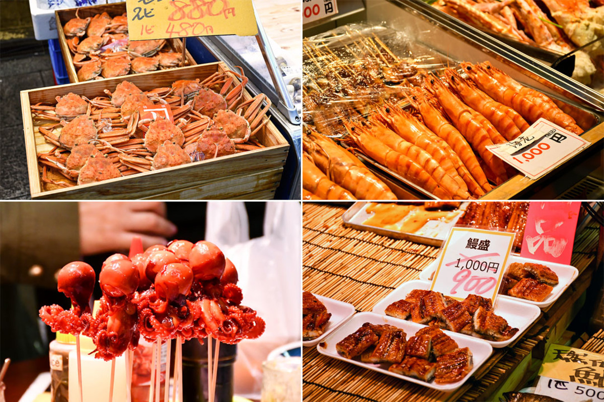 Yummy Japanese seafood delicacies. You could have a feast strolling through Kuromon Ichiba.