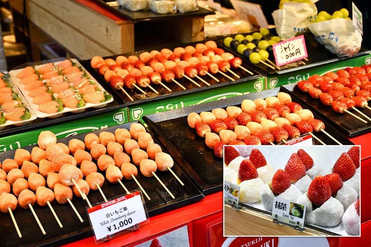 Ichigo i.e. strawberry pastries. A refreshing way to end a visit to Tsukiji Jōgai Shijō with.
