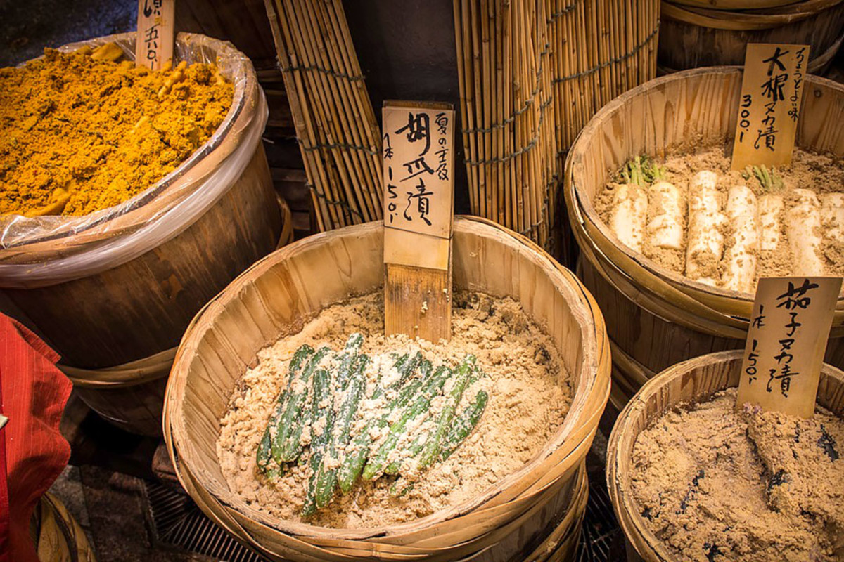 Japanese pickles. Prepared and sold the traditional way.