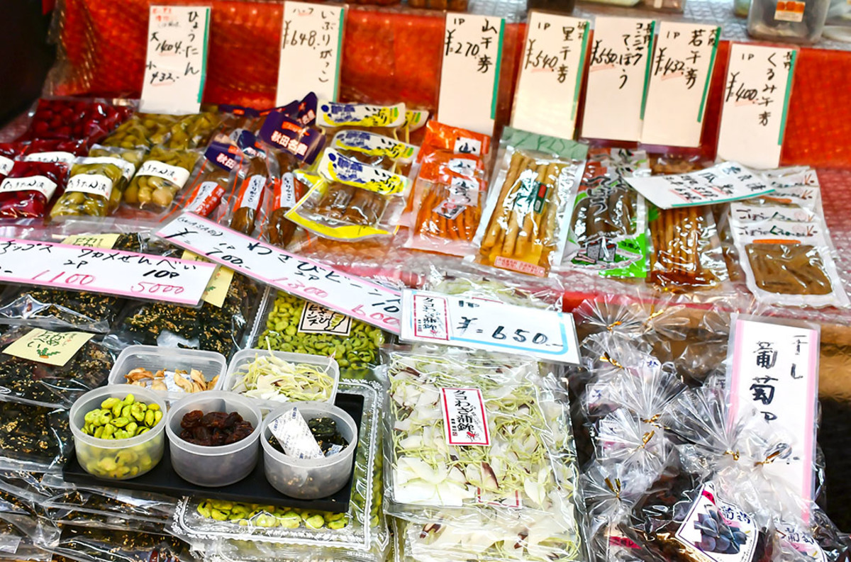Nuts, pickles, seeds. If you can't read Japanese, no problem. Just try the samples!