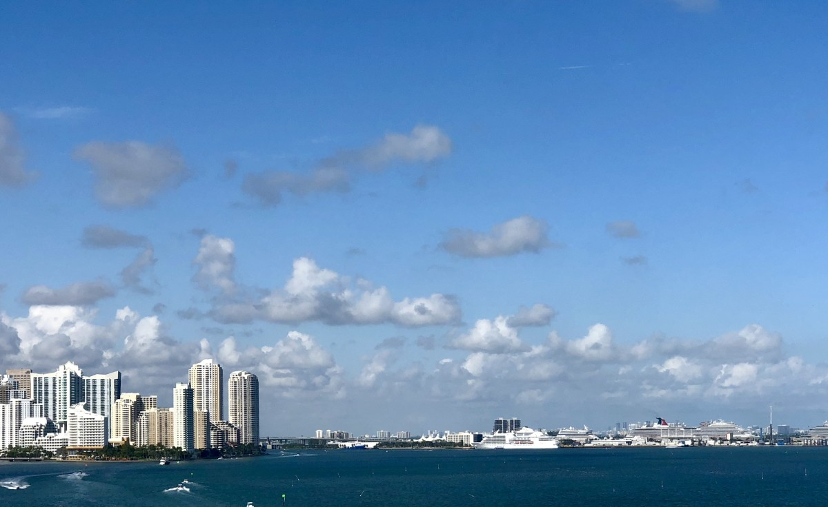 View of the cruise port from the bike/running trail in Key Biscayne