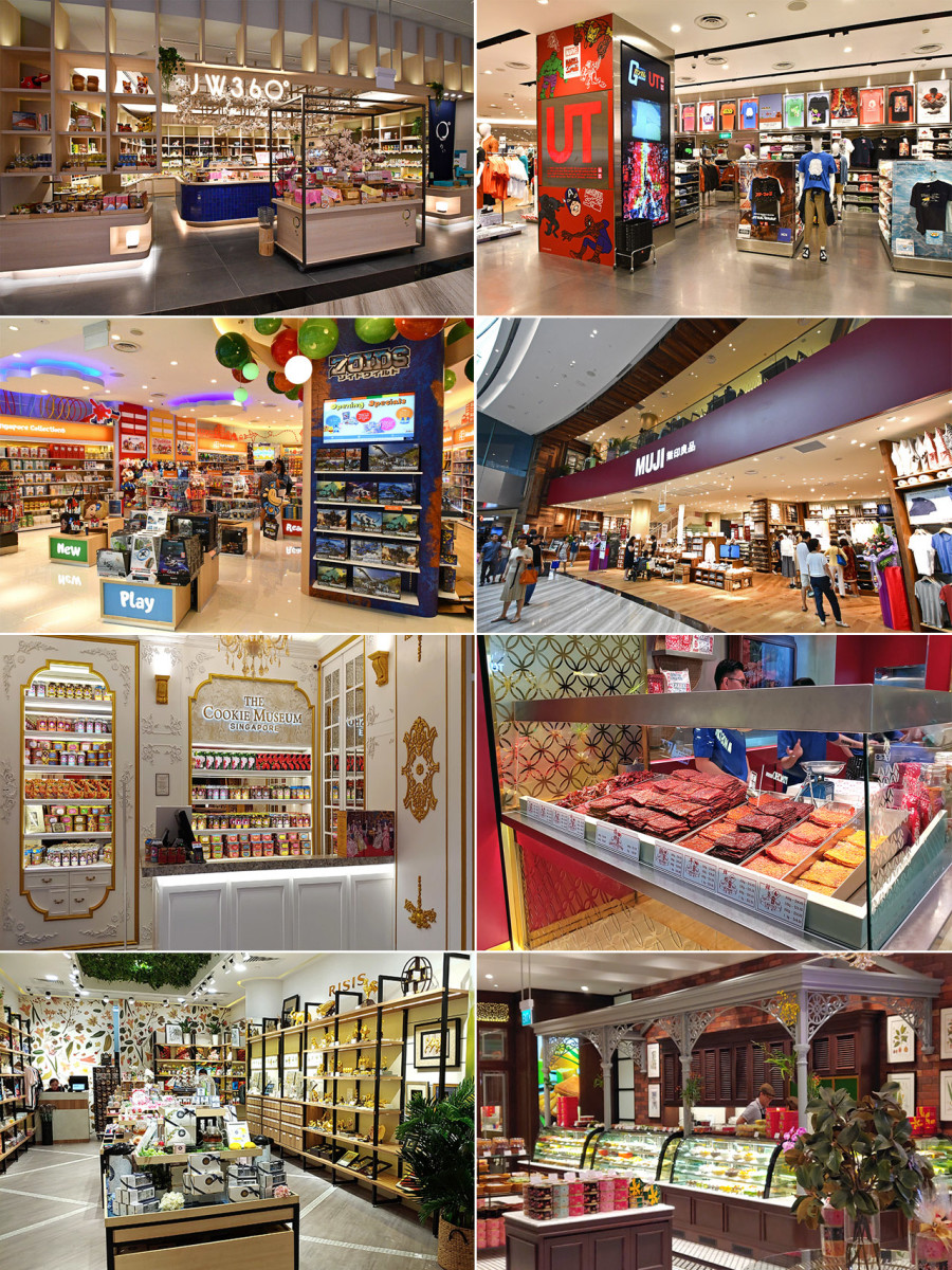 There are over 150 shops at Jewel, large and small. Including several specializing in Singaporean souvenirs and food products.