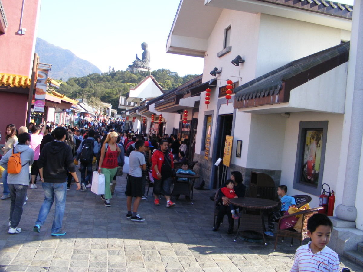 Ngong Ping Village with the Buddha in the background