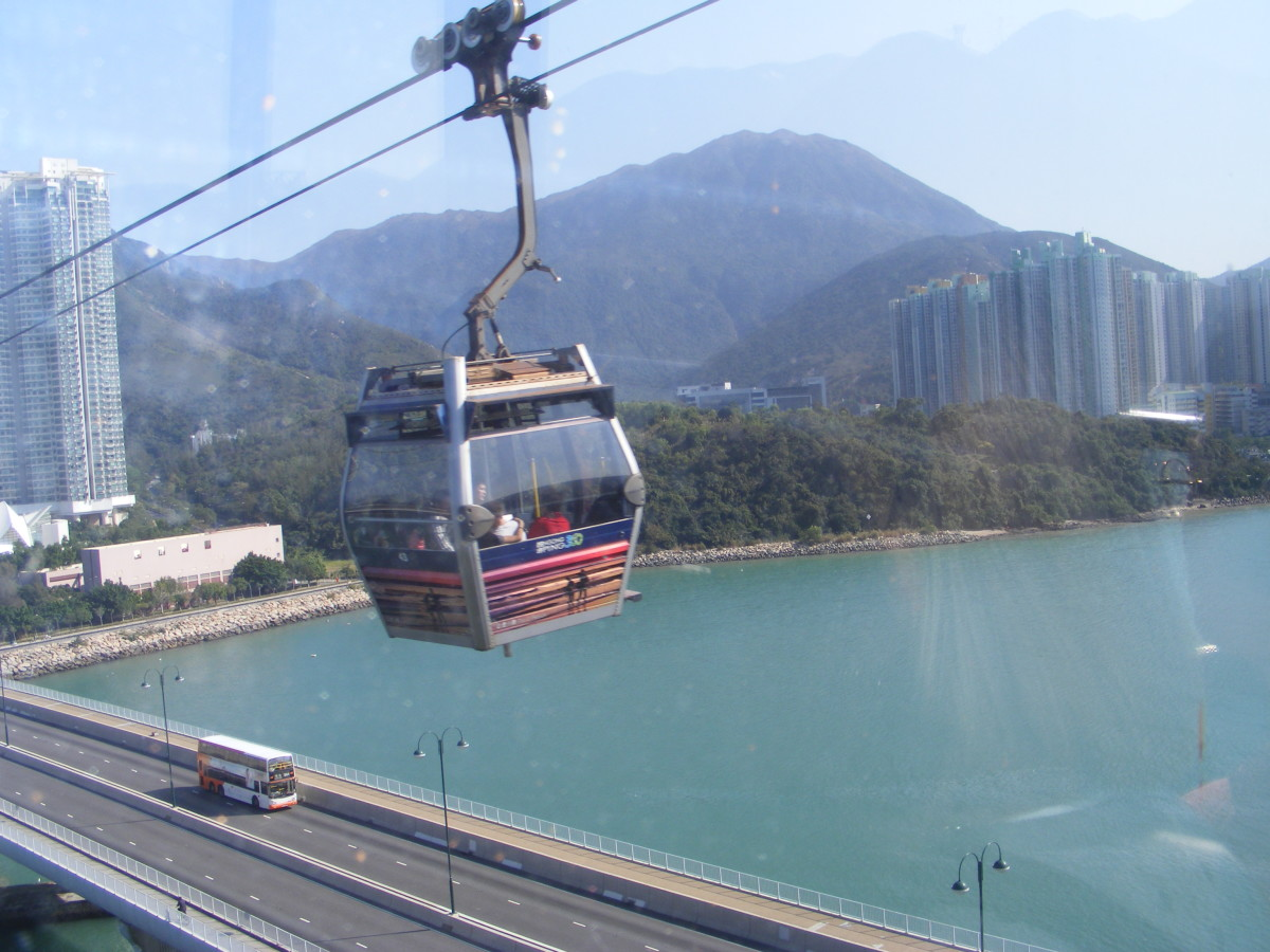 Riding the Ngong Ping 360 Cable Car.