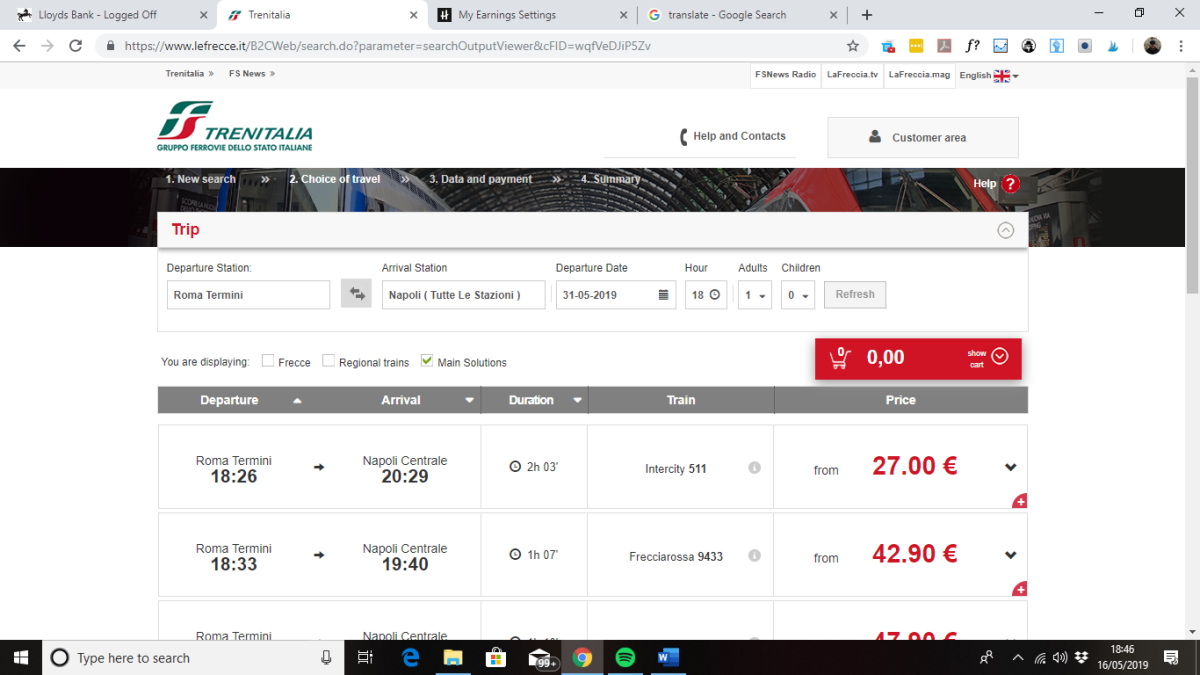 Usually the Trenitalia website will show the fastest journey options first.