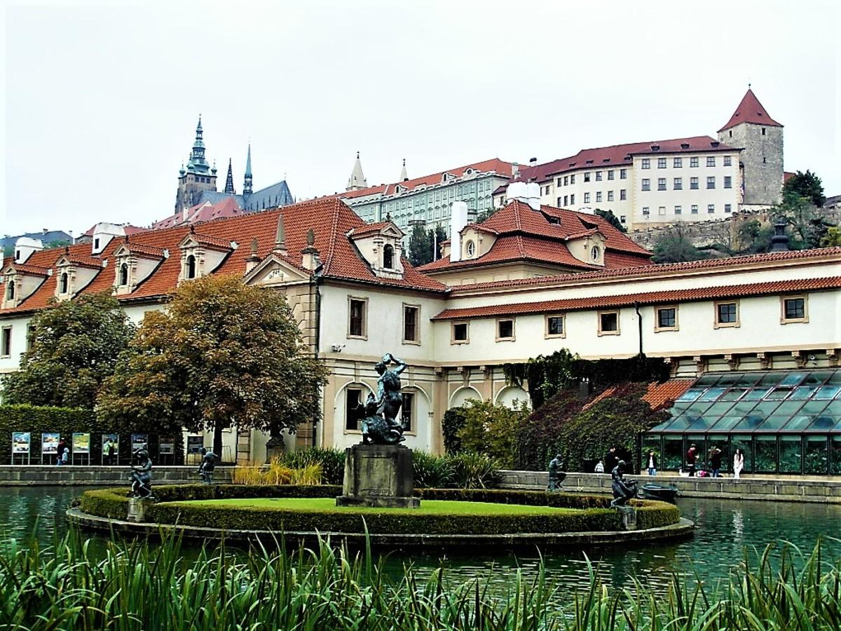 Prague Castle from the pond in Wallenstein Palace gardens.