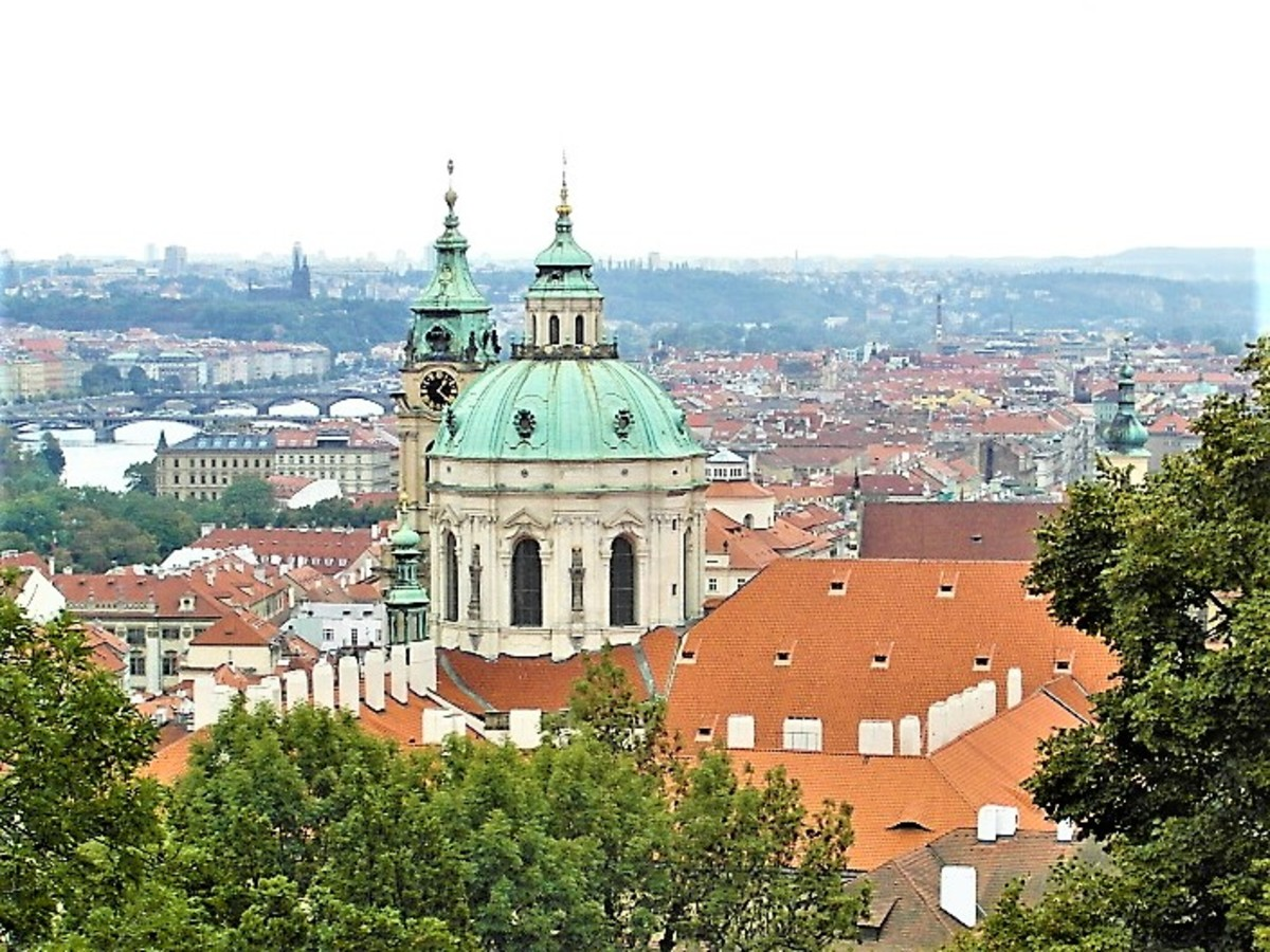 View of the Church of St. Nicholas from Prague Castle.