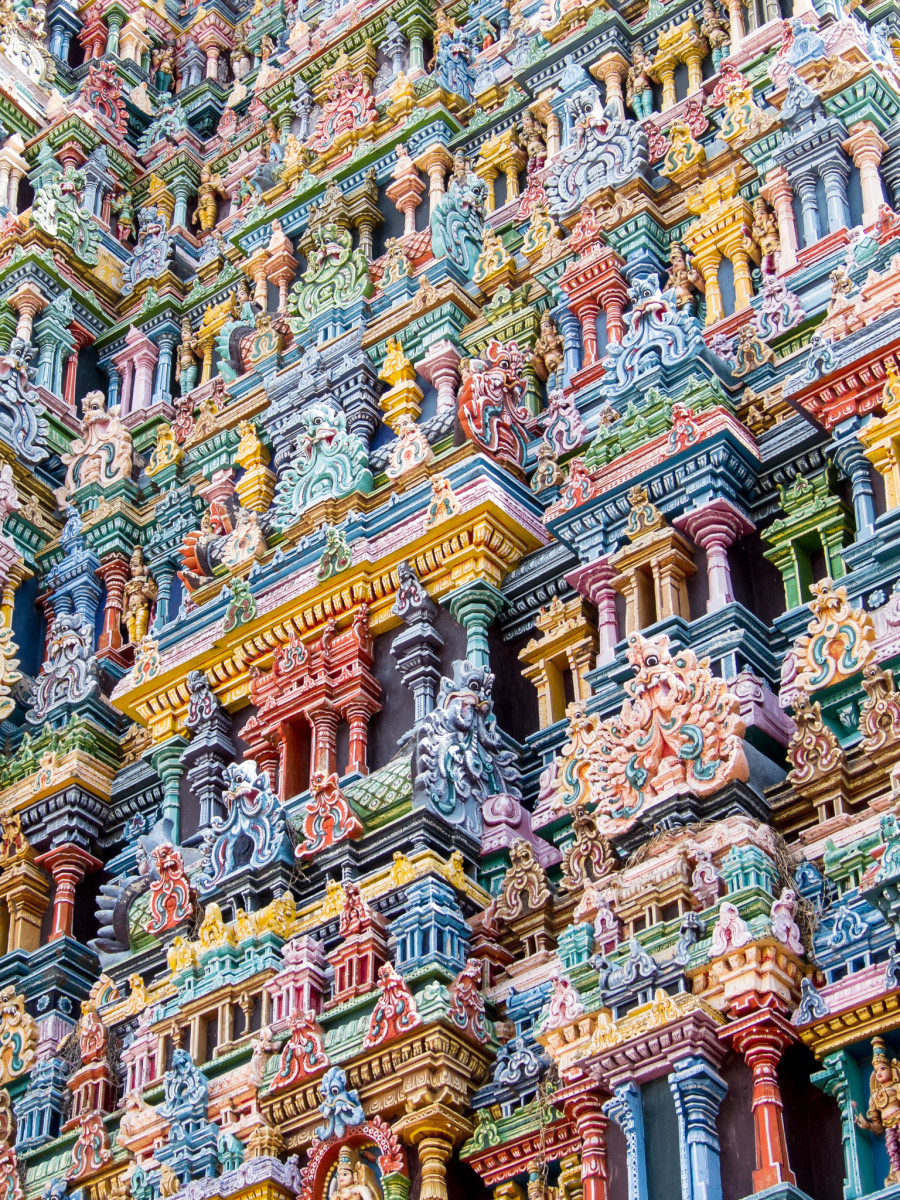 A Close-Up of One of Meenakshi Amman Temple's Stunning Gopuras
