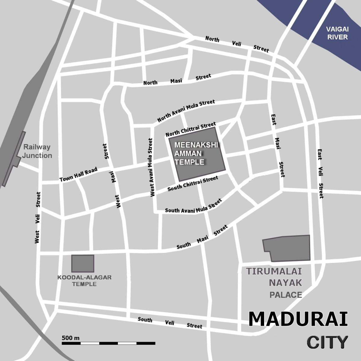 Map of Old Madurai Town