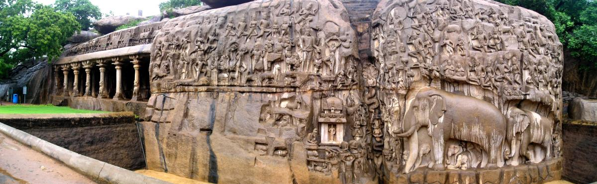 A panoramic view of Arjuna's Penance
