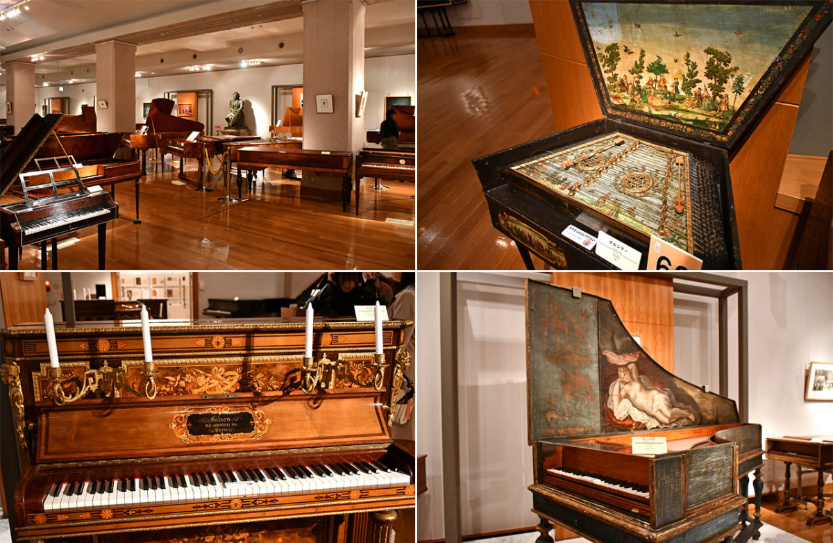 The graceful piano and its predecessors fill an entire hall at Hamamatsu Museum of Musical Instruments.