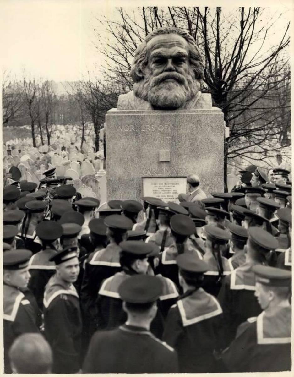 Soviet Navy Sailors in London in 1956 Visiting the Karl Marx Memorial