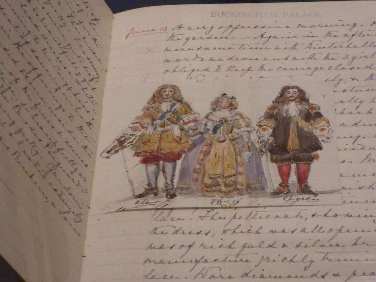 Queen Victoria, Prince Albert and Prince Charles Leiningen drawn by Victoria in her journal. The costumes were worn to the Stuart Ball of 1851. Image by Frances Spiegel 2019. All rights reserved.