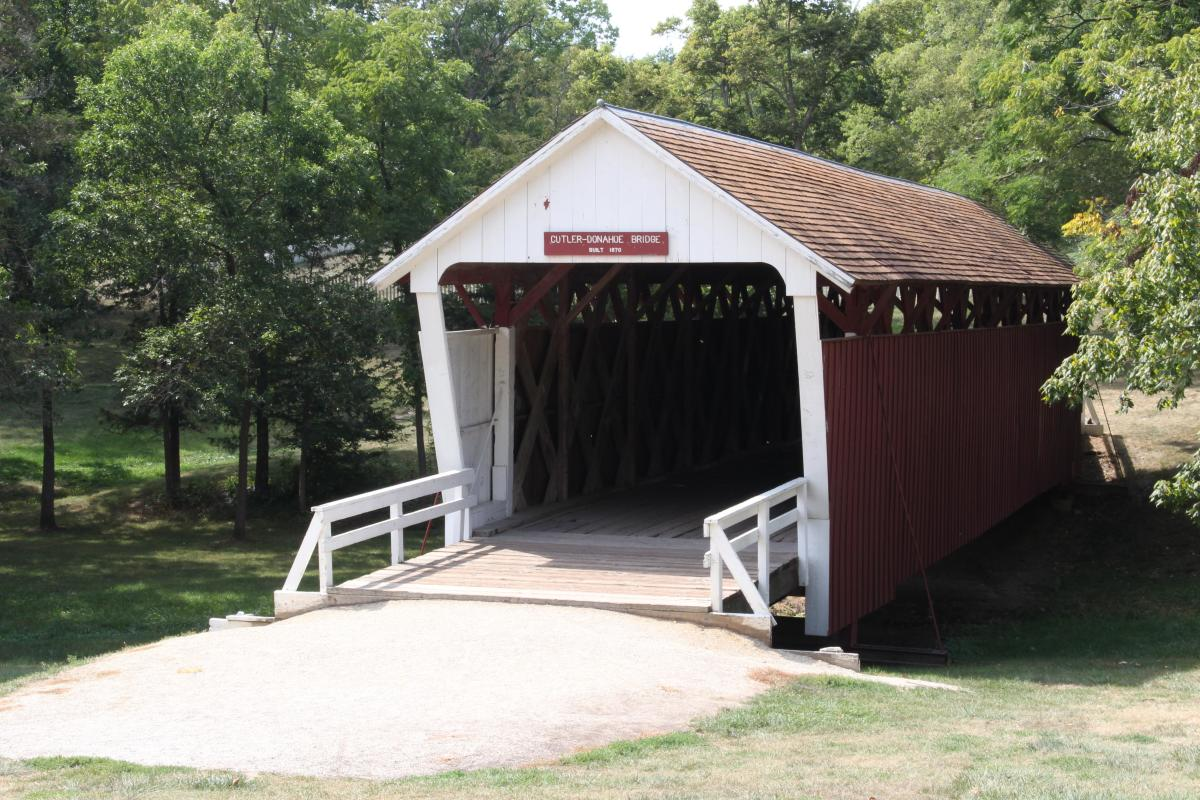 Cutler-Donahoe Bridge, located in Winterset City Park