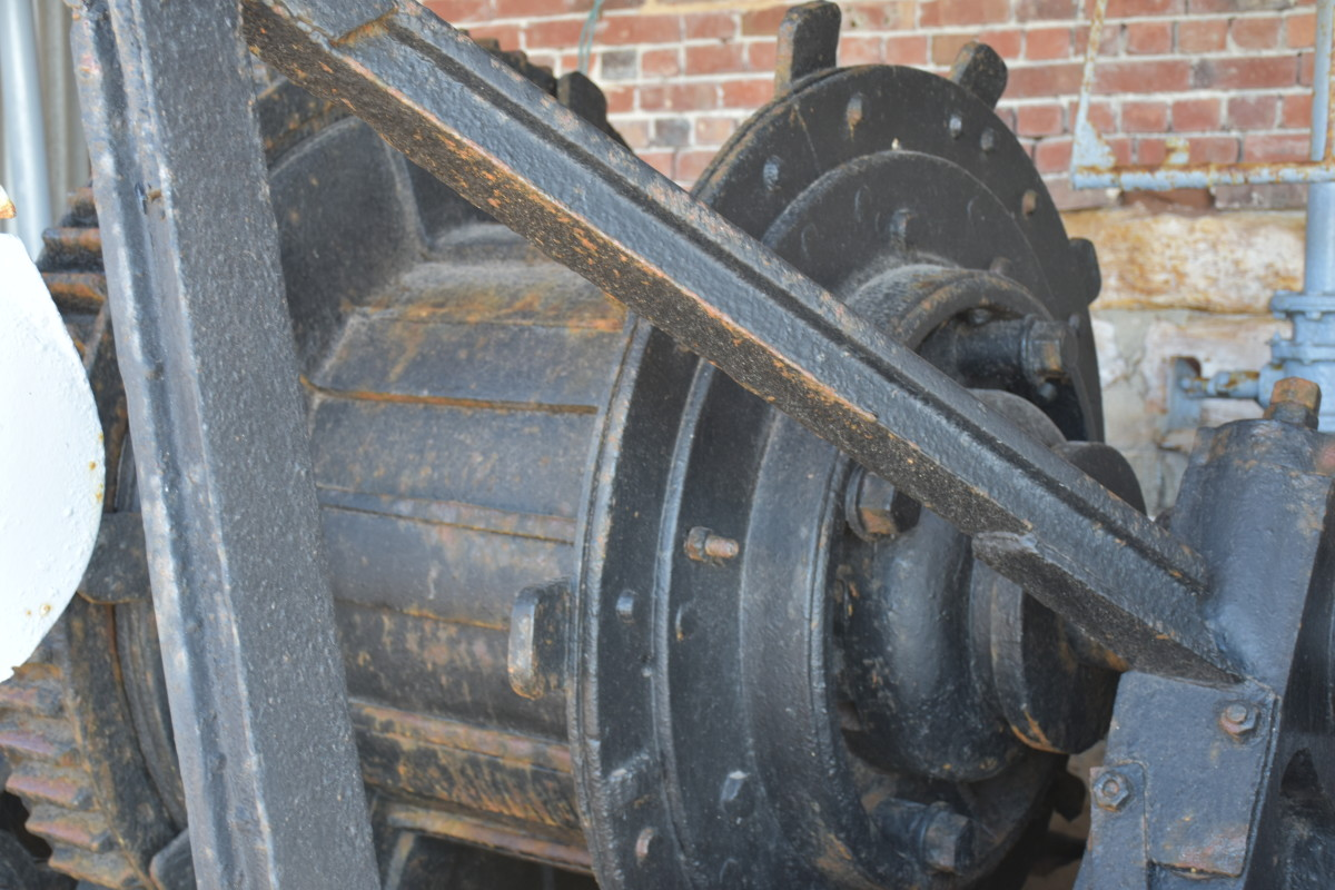 One of the winches used to pull whales onto the flensing deck.