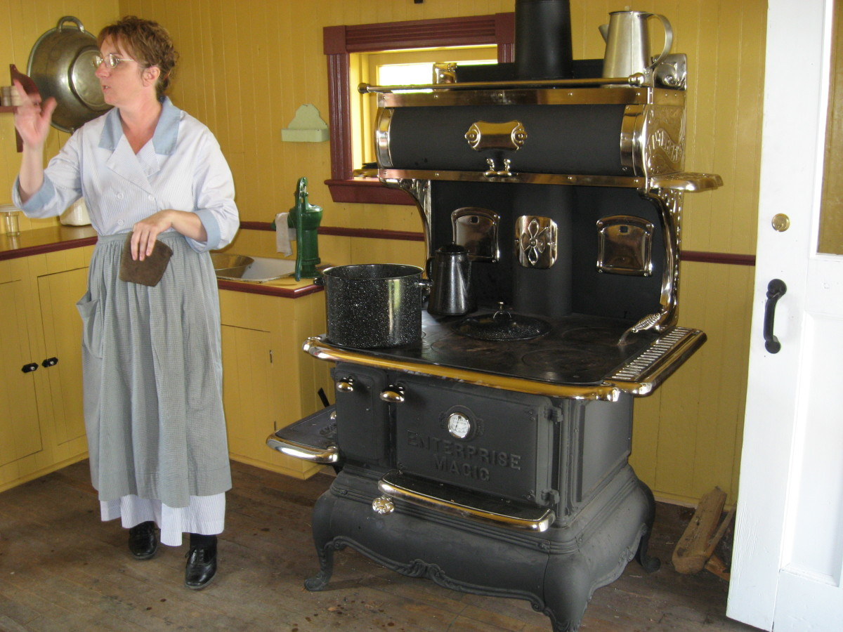 Learn about cooking on a cast-iron stove.
