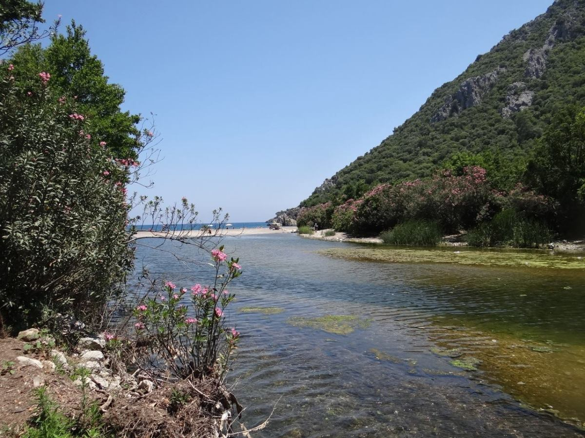 At the north end of Cirali, a shallow river joins the sea