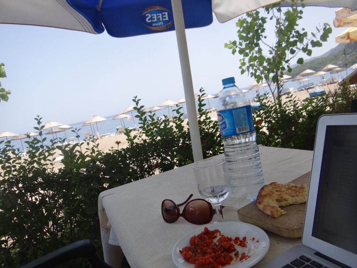 Dining in Cirali with a view of the beach.