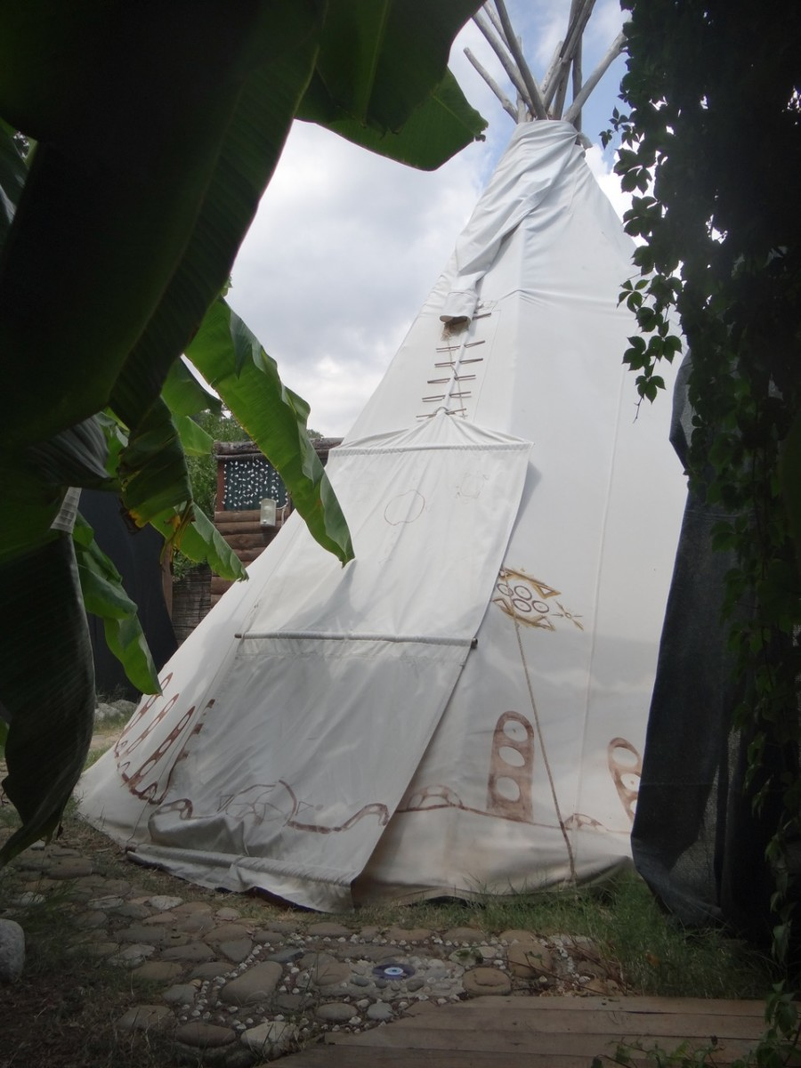 The tepee is very secluded in its own corner of the property.