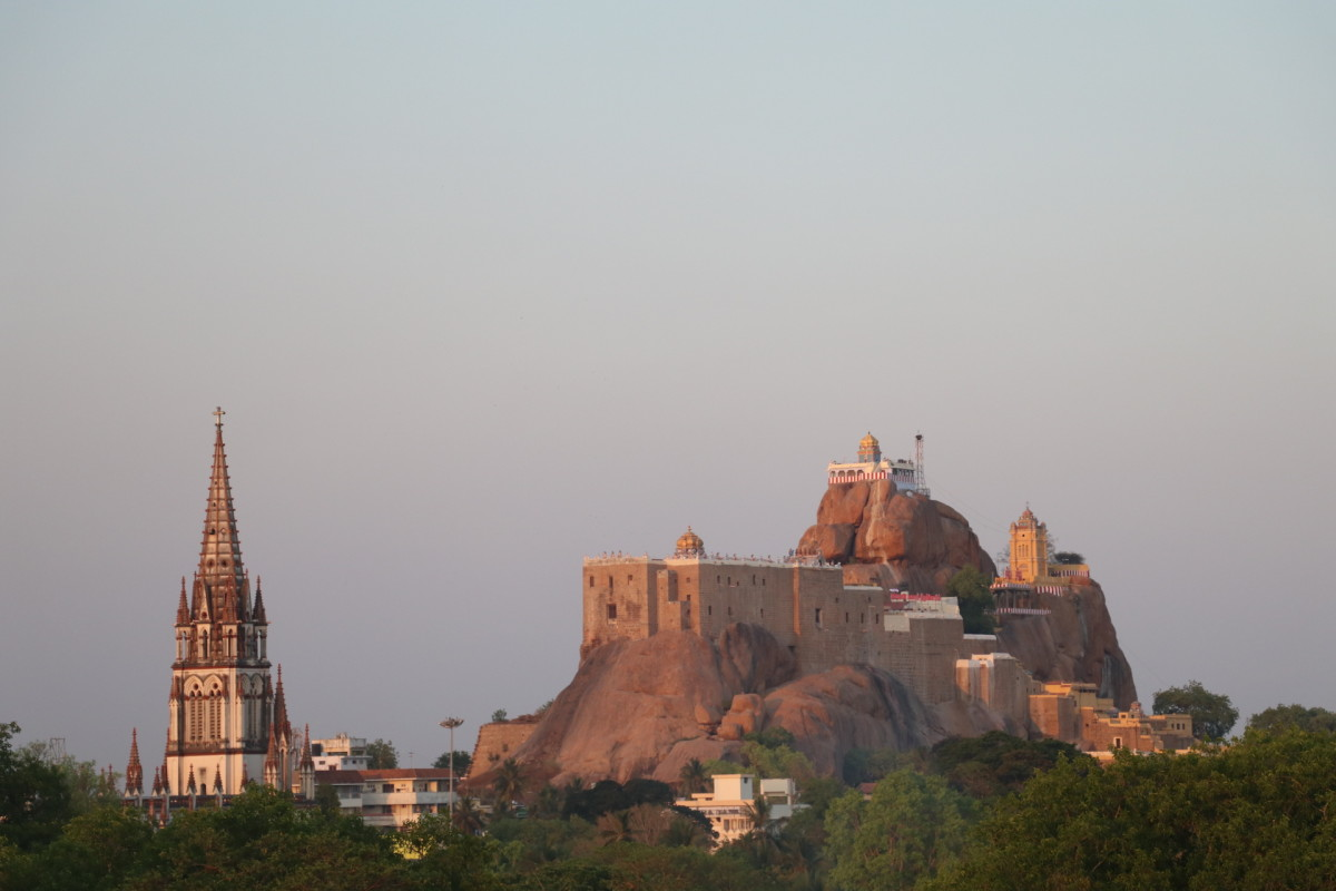 Rock Fort Temple and a Church in Trichy