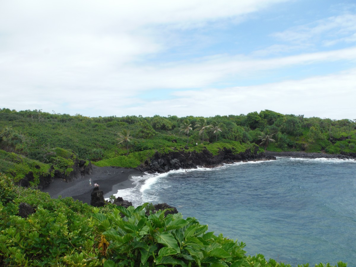 The view above the black-sand Honokalani Beach that is just off the Hana Highway. Worth the stop like so many other places on the Road to Hana.
