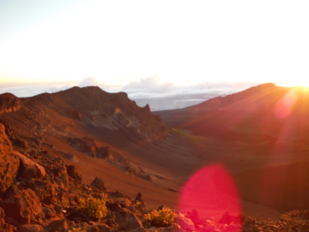 The red landscape of Mt. Haleakala minutes after the sun peeked above the mountain.