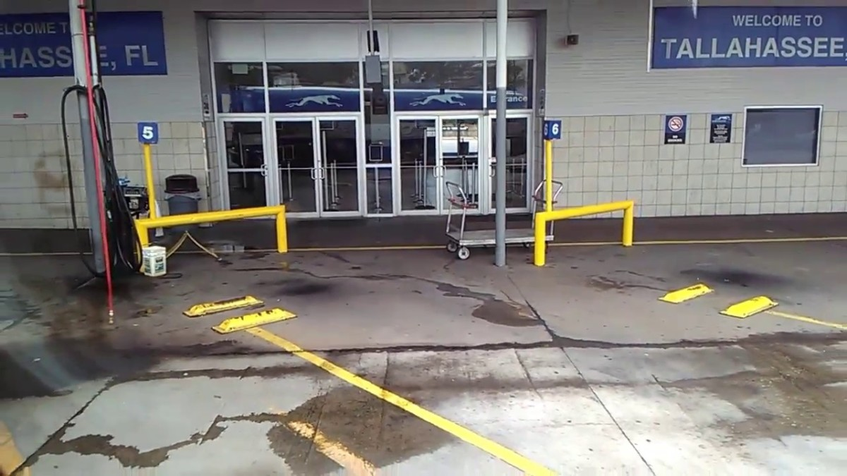 Bus boarding area at the Greyhound station in Tallahassee, FL