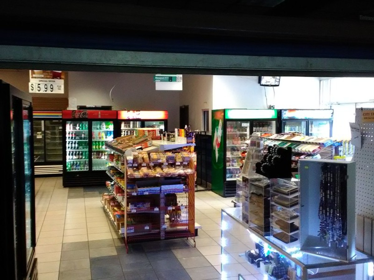 Small convenience store located within Greyhound station in Tallahassee, Florida