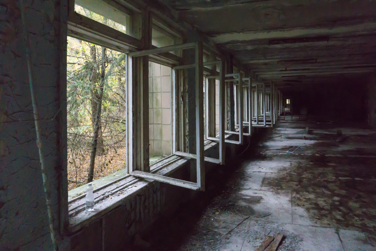 Inside an abandoned school in the evacuated city of Pripyat in the Chernobyl exclusion zone