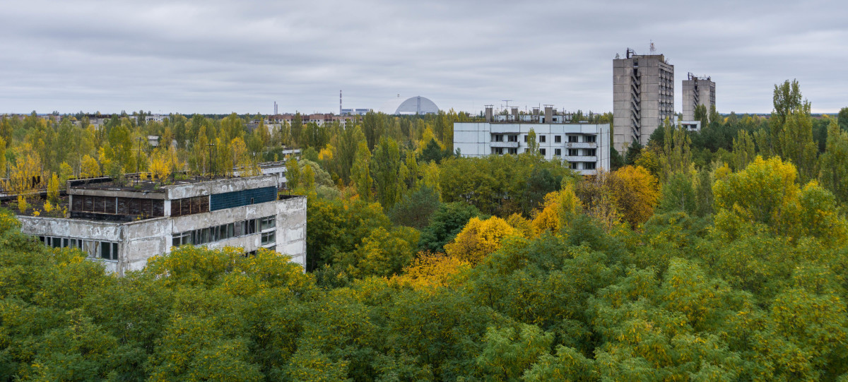 Looking towards the Chernobyl Reactor from the roof of a nine-storey apartment block at Pripyat.